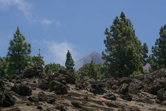View at the peak of Pico del Teide stock photo