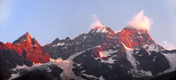 View of the peaks of Monte Rosa Stock Photography