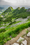 View of the peaks of a mountain path Royalty Free Stock Image