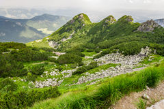 View of the peaks of a mountain trail Stock Photo