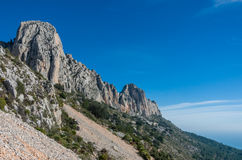 View of peaks of Sierra de Bernia mountains range, near Benidorm Royalty Free Stock Photography
