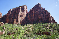 View of the peaks in the Zion Canyon Royalty Free Stock Image