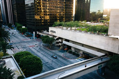 View of a pedestrian bridge over Flower Street, in downtown Los Royalty Free Stock Photo
