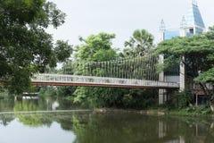 view of pedestrian suspension bridge or steel hanging footbridge Royalty Free Stock Images