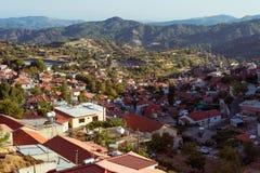 View of Pelendri village. Cyprus, Limassol District Stock Photos