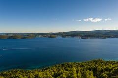 View from Peljesac peninsula at island Korčula Stock Photo