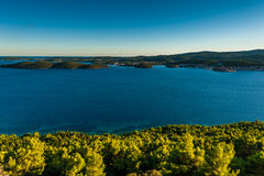 View from Peljesac peninsula at island Korčula Stock Image