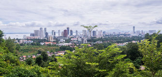 View from Penang hill on Georgetown. View on skyline of Georgetown, Malaysia from Penang Hill, a popular destination for tourists reached by a cog railway Royalty Free Stock Images