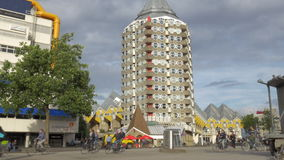 View of Pencil Tower and Cube Houses, Rotterdam, Netherlands. ROTTERDAM, NETHERLANDS - AUGUST 7, 2016: View of the Pencil Tower and Cube houses. It is a set of stock footage