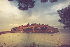 View of the peninsula of Sveti Stefan. Budva in Montenegro.  Adriatic Sea. Stock Photography