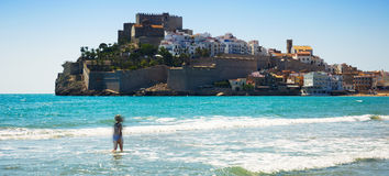 View of Peniscola castle from the beach Royalty Free Stock Photography