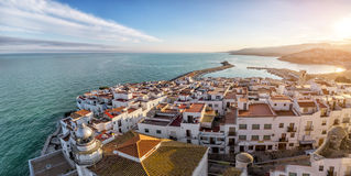 View on Peniscola  from the top of Pope Luna's  Castle , Valenci Royalty Free Stock Image