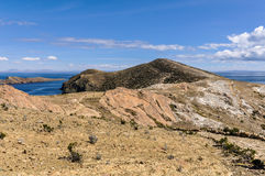 View of a penninsula on the Isla del Sol on Lake Titicaca in Bol Stock Photos