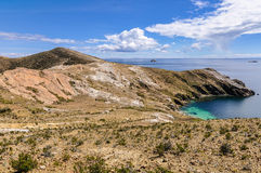 View of a penninsula on the Isla del Sol on Lake Titicaca in Bol Royalty Free Stock Image