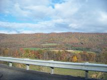 View on Pennsylvania Turnpike. Driving westbound on PA turnpike.   Fall colors OCT. 2014 Stock Photography