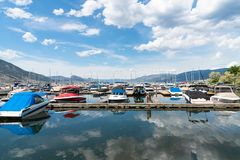View of the Penticton Marina and Yacht Club on Okanagan Lake stock photos
