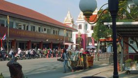 View of people with national Cambodian transport cart. On border between thailand and Cambodia stock video