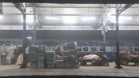 View at people on train station while departure. stock video