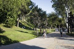 View of people walking, hanging out on grass. Ground at park in Nisantasi / Istanbul in sunny summer day Stock Photography