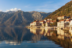 View of Perast town. Bay of Kotor, Montenegro Stock Image