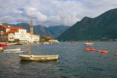 View of Perast town with  bell tower of church of St. Nicholas. Bay of Kotor, Montenegro Stock Photo