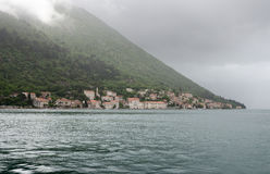 View of Perast Town. View of the town of Perast from the island of Our Lady of the Rocks Stock Image