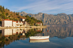 View of Perast town. Montenegro. View of the medieval town of Perast on a sunny winter day. Bay of Kotor, Montenegro Stock Photos