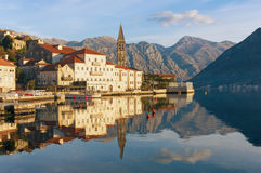 View of Perast town. Montenegro Stock Images