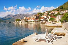 View of Perast town on a sunny autumn day. Bay of Kotor, Montenegro Royalty Free Stock Image