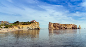 View of Perce Rock at summer Stock Photography