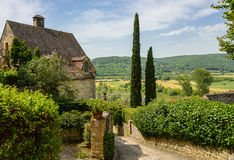 View of Perigord hills from Beynac-et-Cazenac old street Royalty Free Stock Photos