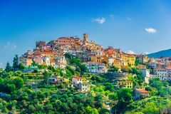 View of Perinaldo in the Province of Imperia, Liguria, Italy.  stock images