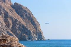 Perissa beach - Santorini Cyclades island - Aegean sea - Greece. View of Perissa beach - Santorini Cyclades island - Aegean sea - Greece royalty free stock photography