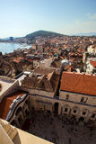 View of peristyle and old town in Split from above Stock Photos