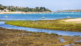 View of Perros-Guirec town through estuary. Travel to France - view of Perros-Guirec town through estuary of river Kerduel and bay Anse de Perros in Cotes-d' Royalty Free Stock Photography