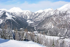 View of Pertisau valley. The valley around Pertisau with fir trees and snow-capped mountains Stock Photo