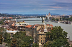 A view of the Pest and Buda parts of Budapest Royalty Free Stock Photography