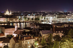 View of Pest at night Royalty Free Stock Photos