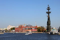 View on Peter the Great monument and Krasny Oktyabr, Moscow. Monument is situated in the centre of Moscow, Vodootvodny canal Royalty Free Stock Images