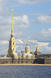 View of the Peter and Paul Cathedral, may cloud by day. Saint Petersburg Stock Images