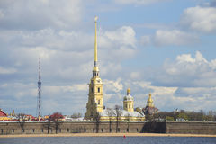 View on the Peter and Paul Cathedral, spring on a cloudy day. Saint Petersburg Royalty Free Stock Photos