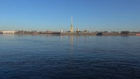 View of the Peter and Paul fortress, April day timelapse. Saint Petersburg. View of the Peter and Paul fortress on a Sunny April day timelapse. Saint Petersburg stock video footage