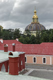 View into the Peter and Paul Fortress at cloudy weather Stock Images