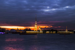 View of the Peter and Paul Fortress with the illumination of the Stock Photo