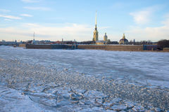 View of the Peter and Paul Fortress in January twilight. St. Petersburg Stock Image