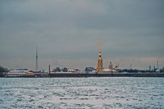 View of the Peter and Paul fortress and the Neva river,. Bound by ice Royalty Free Stock Photo