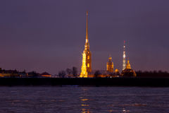 View of the Peter and Paul Fortress at night, St. Petersburg Royalty Free Stock Photos