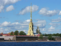 View of the Peter and Paul fortress. Saint Petersburg, Russia. View of the Peter and Paul fortress and the Neva river.  Peter and Paul cathedral. Landmark Royalty Free Stock Photos