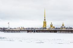 View on Peter and Paul Fortress in Saint-Petersburg, Russia Stock Photos