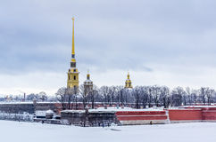 View on Peter and Paul Fortress in Saint-Petersburg, Russia Royalty Free Stock Photo